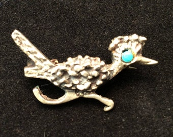 Vintage Southwestern Sterling Silver Textured Running Roadrunner with Turquoise Eye Brooch, Roadrunner Pin
