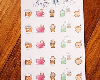Sloth Planner Stickers| Tea Coffee Sloth| Coffee Cup Stickers| Tea Cup Stickers| Adorable Coffee and Tea Theme Sloth Planner Stickers