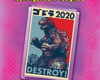 "GOJIRA Election 2020 Magnets - 2""x3"" Acrylic refrigerator magnet - Classic Godzilla - King of the Monsters"