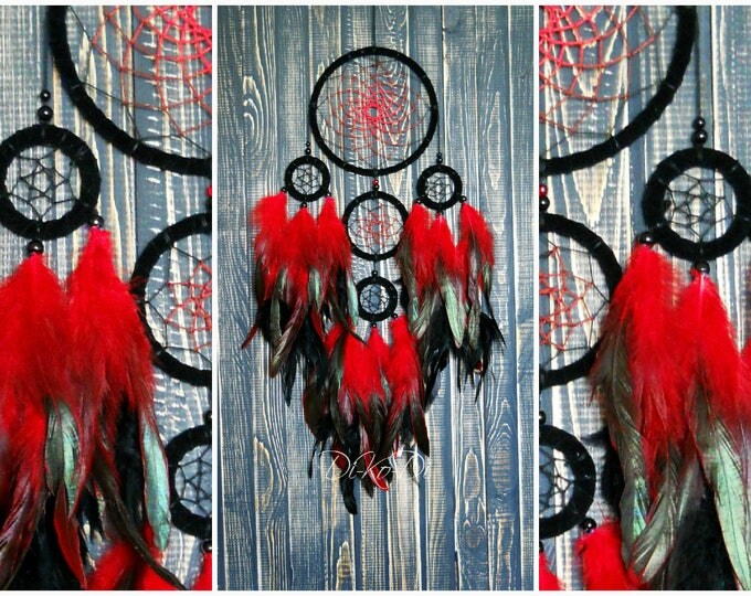Dream catcher fire red Large dream catcher Bohemian decor Home decor Dreamcatcher wall dream catcher Dream catcher Christmas Décor Wall