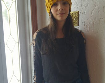 Hat adult or child with wool or fur, Gold tassel, knitted by hand