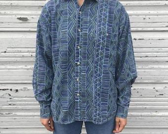 Vintage 90s Imprints Blue Green Geometric Pattern Funky Retro Long Sleeve Button Up Shirt - Large