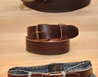 Leather Belt, Full Grain Leather Belt, Brown Leather Belt, Mens Leather Belt.