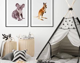Kangaroo Art Print, Kangaroo Print, Kangaroo, Wall Art Print, Wall Art, Wall Decor, Print, Fine Art Print
