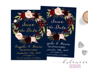 Navy Gold Save the Date Invitation Marsala Pink Floral Wreath Printable Burgundy Boho White Save the Date Fall Invite Summer Invite - WS037