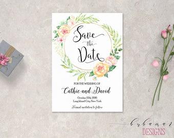 Blush Pink Yellow Wedding Save the Date Printable Spring Wedding Boho Digital Date Invitation Summer Floral Frame Wedding Invite - SD009