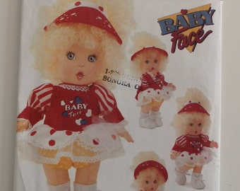 "Vintage sewing 1991 "" Baby Face"" uncut 13"" doll pattern by Butterick 5742"