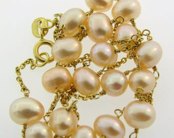 Peach Pink Freshwater Pearl FWP Tin Cup Station Necklace 14K Yellow Gold 16.25""
