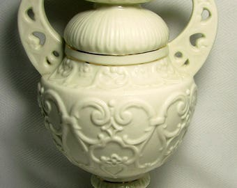"BELLEEK Embossed Handled Neoclassical Design VASE 11.75"" Tall Fancy Collar with Gilt"