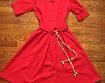 vintage 1960s-1970s red shirt dress by Caron of Chicago
