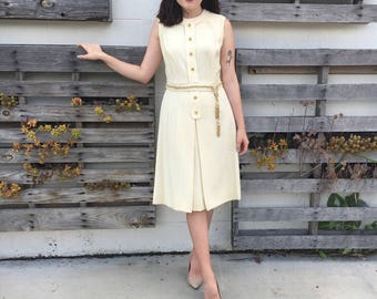 Gorgeous 1960s Cream Dress w/ Gold Accents