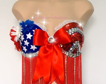 4th of July Flower and Fringe Festival Bra/ USA Rhinestone Edm Bra/ American Flag Sequin Festival Top/ Stars and Stripes Patriotic Rave Bra