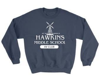 Stranger Things - Hawkins av club Sweatshirt - Hawkins Middle School - Stranger Things tee - Eleven - Netflix - Upside Down - Barb - 1982