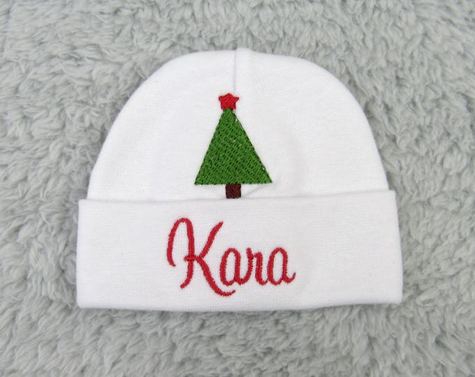Personalized baby hat micro preemie, preemie, newborn - Christmas baby, NICU clothes, baby shower gift, newborn pictures, going home outfit