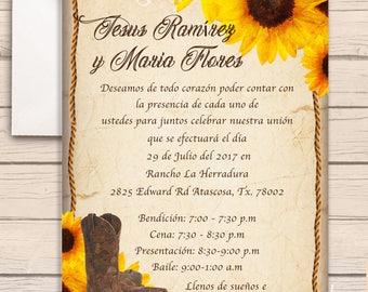 100- Western Sunflower Invitations (printed)