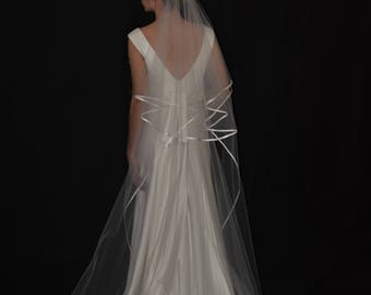 """Two-Tier 30""""/90"""" Oval Gather Center Top Chapel Veil with 1/4"""" Folded Satin Ribbon Edging"""