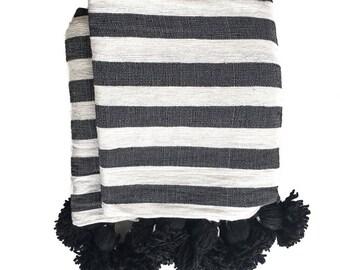 Pom Pom Blanket - Black and White Stripes
