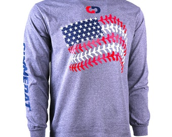 Softball Seams American Flag Long Sleeve Softball T-Shirt, Softball Shirts, Softball Gifts - Free Shipping!