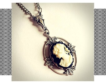 Silver Cameo Necklace, cameo necklace, cameo jewelry, cameo pendant, gothic jewelry, gothic cameo, victorian necklace, gift for her