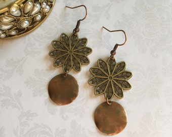 Rustic Copper Earrings, Copper Earrings, Rustic Earrings, Copper Jewelry, Rustic Jewelry, Boho Earrings, Boho Jewelry, Ethnic Earrings