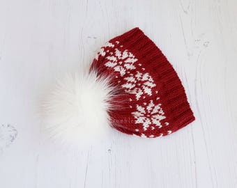 Faux fur pom pom hat-hand knitted baby beanie-snowflake hat-unisex baby winter hat-red pom pom hat-3-6 months beanie-uk seller-READY TO SHIP