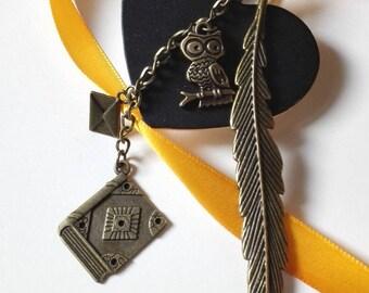 Bookmark Harry Potter book of secrets bronze ancient magical OWL Invitation Hogwarts gift idea