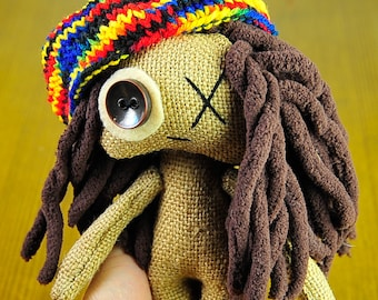 Rasta doll Hand made doll Rasta hat Art doll Handmade gifts FREE SHIPPING ooak Toys Gift Primitive doll Plush Voodoo Booo Bright doll