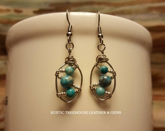 Southwest Bohemian Artisan Wire Wrapped Turquoise Blue