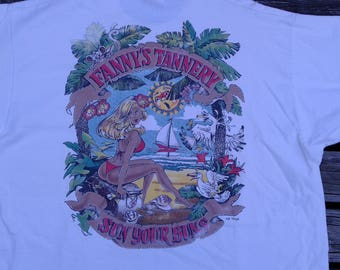 "Vintage 80's / 90's ""Fanny's Tannery, Sun Your Buns"" double-sided t-shirt Made in USA by Fruit of the Loom XL"
