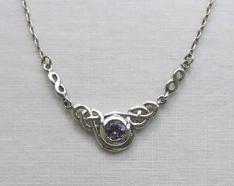 Amethyst and silver celtic knot necklace, Kit Heath