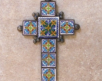"""Metal cross wall decor vintage look hand made of ceramic tile and metal 9"""" x 6.25"""" tile design with marigold flowers"""