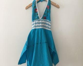 Little Girls * Baby Girls * Kids Mexican Embroidered Halter Dress Size 12 - 24 Months