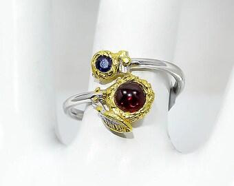 Red Garnet Ring, Sapphire Ring, Elvish Ring, Adjustable Ring Gold leaves Ring, September January Birthstone birthday gifts, gifts for sister