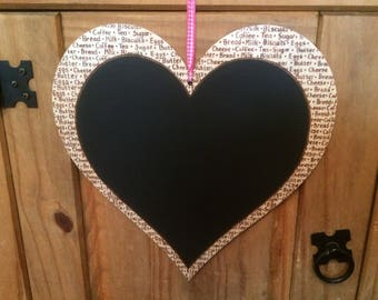 Wooden Heart shaped chalkboard, kitchen memo board decorated with shopping list words using pyrography.