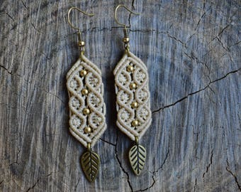 Beige macrame earrings, Boho style macrame jewelry, Leaf earrings, Tribal earrings, Beaded macrame earrings, Gipsy earrings, OOAK jewelry