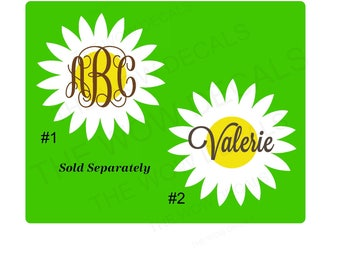 Daisy Monogram/Name Decal - Yeti & similar style cups, laptop, car, cell phone, notebook, tumbler, rambler, cooler, Many applications