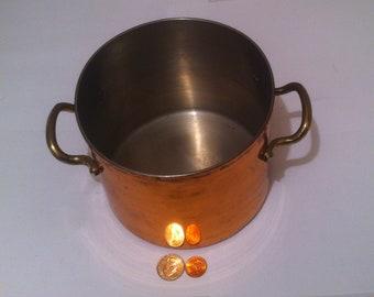 Vintage Copper Pan, Pot, Bucket, Brass Handles, 6 1/2 x 5, Copper Cooking Pan, Pot, Kitchen Decor, Shelf Display.  This bucket has a bunch
