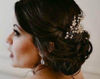 Pearl Hair Pins Baby's Breath Hair Pieces Crystal Bridal Headpiece Wedding Vine Hairpiece Beaded Headpiece Bridal Hair Pieces Breath Hair