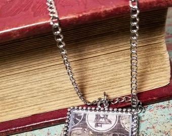 Silver Key Necklace - Silver Key Pendant - Vintage Key Pendant - Vintage Key Necklace - Key Necklace - Key Resin Pendant - Steampunk Key