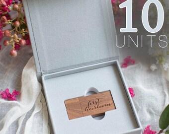 10 Grey USB boxes / Linen photo box / Linen box / Photo box / proof box / Photographers packaging / USB