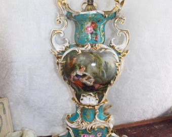 Antique French Vieux paris porcelain hand paint Vase lamp 1900