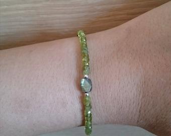 Green Peridot Bracelet Labradorite Bracelet Karen Hill Tribe Silver Bracelet Fine Silver Bracelet Skinny Bracelet Thin Bracelet Gift for Her