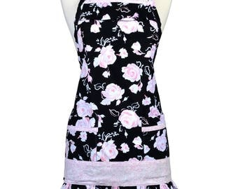 Womens Ruffled Apron Cute Soft Pink Roses on Black Retro Traditional with Large Pockets and Adjustable Neck Ties