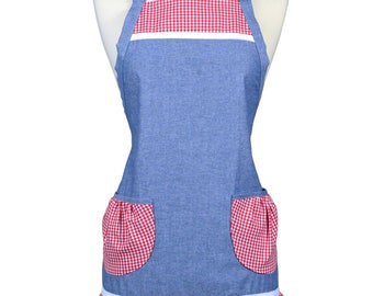 Womens Ruffled Apron Cute Denim with Red Gingham Trims Retro Traditional with Large Pockets and Adjustable Neck Ties