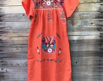 mexican dress - womens - handmade - embroidered - mexico - dress - boho dress - adult - orange