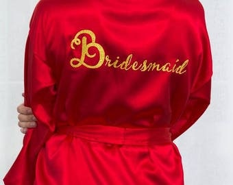 Wedding Robe For Bride And Bridesmaids, Bridal Party Robes For Bride To Be, Personalized Kimono Gown