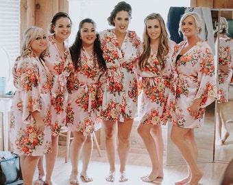 BIG SALE!!! Adult & Kids Floral Satin Bridal Robes - Silk Floral Robe - Dressing Gown - Bridesmaid Robes bachelorette gift