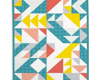 Traditional Quilt, Modern Quilt, Home Decor, Kid's Room, Girl Quilt, Baby Quilt - Triangles Geometric Quilt