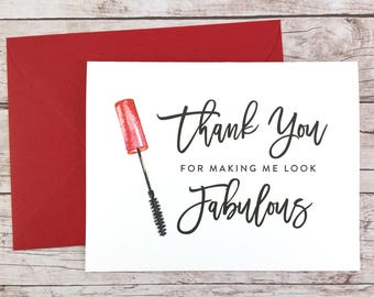 Thank You For Making Me Look Fabulous Card, Makeup Artist Thank You Card, Wedding Vendor Thank You Card - (FPS0043)