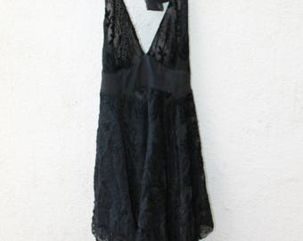 BLACKLIST black lace halter top dress asymmetrical hem sundress size S